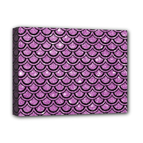 Scales2 Black Marble & Purple Glitter Deluxe Canvas 16  X 12   by trendistuff