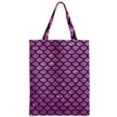 Scales1 Black Marble & Purple Glitter Zipper Classic Tote Bag