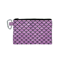 Scales1 Black Marble & Purple Glitter Canvas Cosmetic Bag (small) by trendistuff