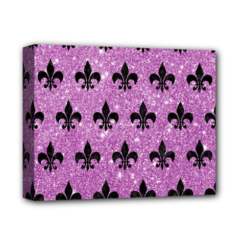 Royal1 Black Marble & Purple Glitter (r) Deluxe Canvas 14  X 11  by trendistuff