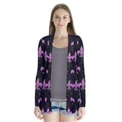 Royal1 Black Marble & Purple Glitter Drape Collar Cardigan by trendistuff