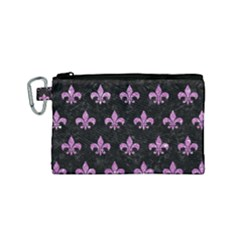 Royal1 Black Marble & Purple Glitter Canvas Cosmetic Bag (small) by trendistuff