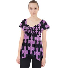Puzzle1 Black Marble & Purple Glitter Lace Front Dolly Top