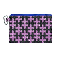 Puzzle1 Black Marble & Purple Glitter Canvas Cosmetic Bag (large) by trendistuff