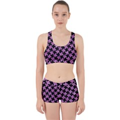 Houndstooth2 Black Marble & Purple Glitter Work It Out Sports Bra Set