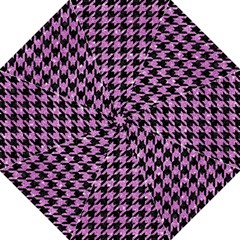 Houndstooth1 Black Marble & Purple Glitter Golf Umbrellas by trendistuff