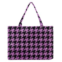 Houndstooth1 Black Marble & Purple Glitter Zipper Medium Tote Bag by trendistuff