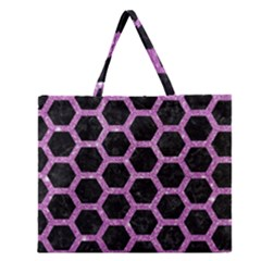 Hexagon2 Black Marble & Purple Glitter (r) Zipper Large Tote Bag by trendistuff