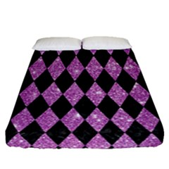 Diamond1 Black Marble & Purple Glitter Fitted Sheet (queen Size) by trendistuff