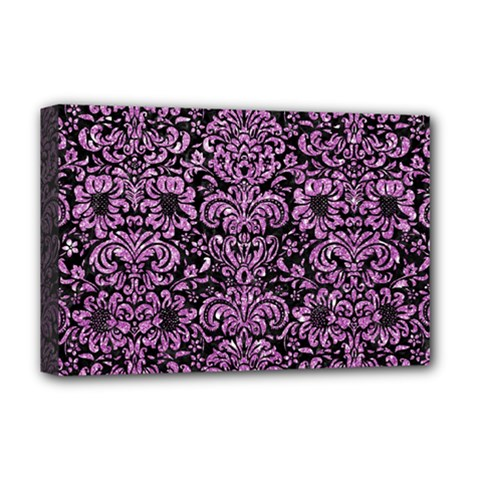 Damask2 Black Marble & Purple Glitter (r) Deluxe Canvas 18  X 12   by trendistuff