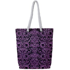 Damask2 Black Marble & Purple Glitter (r) Full Print Rope Handle Tote (small)