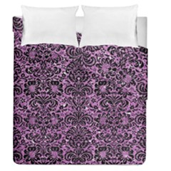Damask2 Black Marble & Purple Glitter Duvet Cover Double Side (queen Size) by trendistuff