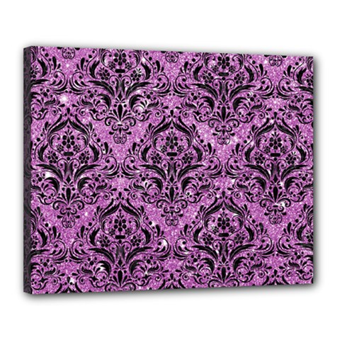 Damask1 Black Marble & Purple Glitter Canvas 20  X 16  by trendistuff