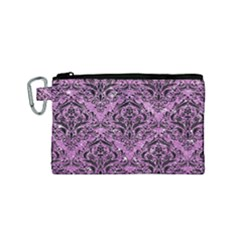Damask1 Black Marble & Purple Glitter Canvas Cosmetic Bag (small) by trendistuff