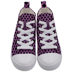 Circles3 Black Marble & Purple Glitter (r) Kid s Mid Top Canvas Sneakers