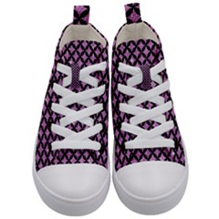 Circles3 Black Marble & Purple Glitter Kid s Mid Top Canvas Sneakers
