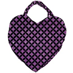 Circles3 Black Marble & Purple Glitter Giant Heart Shaped Tote by trendistuff