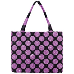 Circles2 Black Marble & Purple Glitter (r) Mini Tote Bag by trendistuff