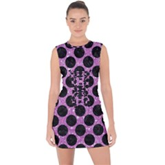 Circles2 Black Marble & Purple Glitter Lace Up Front Bodycon Dress