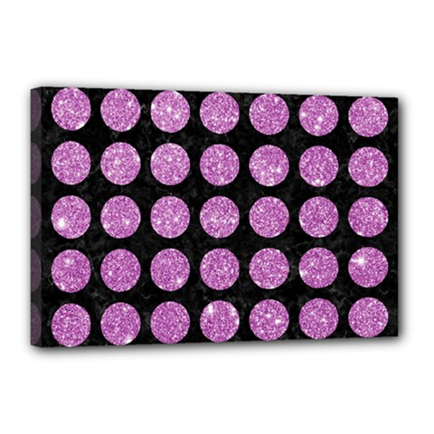 Circles1 Black Marble & Purple Glitter (r) Canvas 18  X 12  by trendistuff