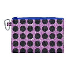 Circles1 Black Marble & Purple Glitter Canvas Cosmetic Bag (large) by trendistuff