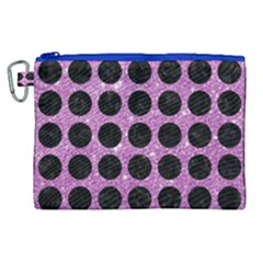 Circles1 Black Marble & Purple Glitter Canvas Cosmetic Bag (xl) by trendistuff