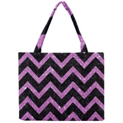 Chevron9 Black Marble & Purple Glitter (r)chevron9 Black Marble & Purple Glitter (r) Mini Tote Bag by trendistuff