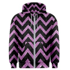Chevron9 Black Marble & Purple Glitter (r)chevron9 Black Marble & Purple Glitter (r) Men s Zipper Hoodie by trendistuff