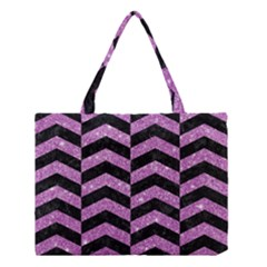 Chevron2 Black Marble & Purple Glitter Medium Tote Bag by trendistuff