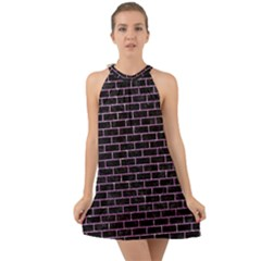 Brick1 Black Marble & Purple Glitter (r) Halter Tie Back Chiffon Dress by trendistuff