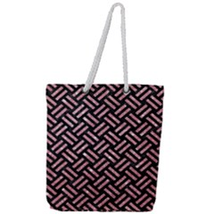 Woven2 Black Marble & Pink Glitter (r) Full Print Rope Handle Tote (large) by trendistuff