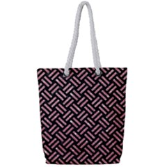 Woven2 Black Marble & Pink Glitter (r) Full Print Rope Handle Tote (small) by trendistuff