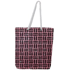 Woven1 Black Marble & Pink Glitter Full Print Rope Handle Tote (large) by trendistuff