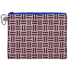 Woven1 Black Marble & Pink Glitter Canvas Cosmetic Bag (xxl) by trendistuff