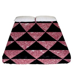 Triangle3 Black Marble & Pink Glitter Fitted Sheet (king Size) by trendistuff