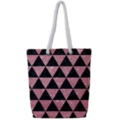 Triangle3 Black Marble & Pink Glitter Full Print Rope Handle Tote (small) by trendistuff