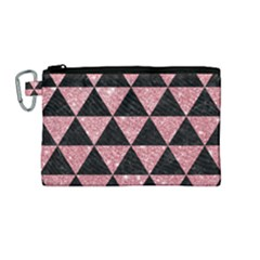 Triangle3 Black Marble & Pink Glitter Canvas Cosmetic Bag (medium) by trendistuff