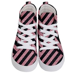 Stripes3 Black Marble & Pink Glitter (r) Kid s Hi Top Skate Sneakers