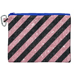 Stripes3 Black Marble & Pink Glitter (r) Canvas Cosmetic Bag (xxl) by trendistuff
