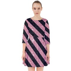 Stripes3 Black Marble & Pink Glitter Smock Dress