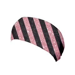 Stripes3 Black Marble & Pink Glitter Yoga Headband by trendistuff
