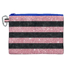 Stripes2black Marble & Pink Glitter Canvas Cosmetic Bag (xl)