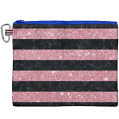 Stripes2black Marble & Pink Glitter Canvas Cosmetic Bag (xxxl) by trendistuff