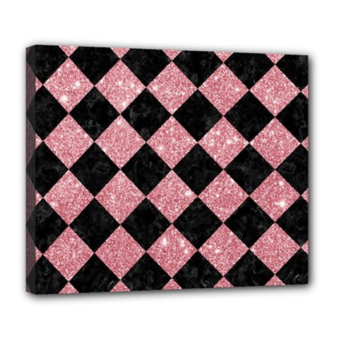 Square2 Black Marble & Pink Glitter Deluxe Canvas 24  X 20   by trendistuff