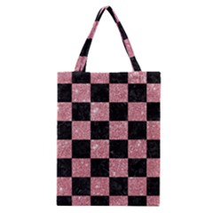 Square1 Black Marble & Pink Glitter Classic Tote Bag by trendistuff