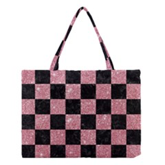 Square1 Black Marble & Pink Glitter Medium Tote Bag by trendistuff