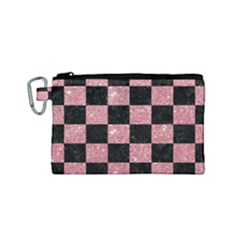 Square1 Black Marble & Pink Glitter Canvas Cosmetic Bag (small) by trendistuff