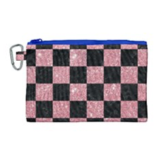 Square1 Black Marble & Pink Glitter Canvas Cosmetic Bag (large) by trendistuff