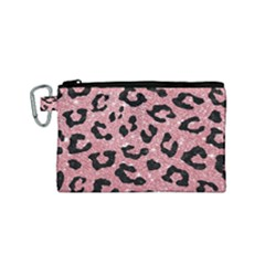Skin5 Black Marble & Pink Glitter (r) Canvas Cosmetic Bag (small) by trendistuff