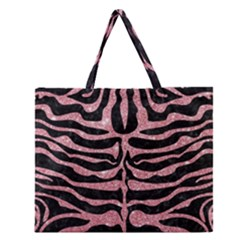 Skin2 Black Marble & Pink Glitter (r) Zipper Large Tote Bag by trendistuff